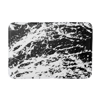 Distressed Black and White Distressed Paint Bath Mat