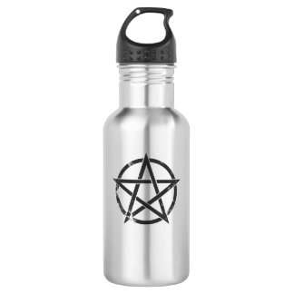 Distressed Black Pentagram - Pagan Symbol 18oz Water Bottle