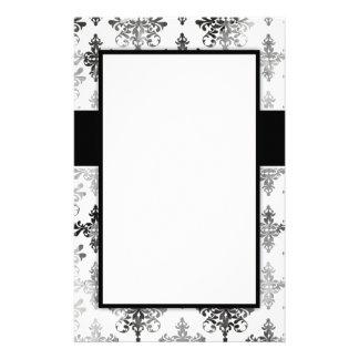distressed black white damask design custom stationery