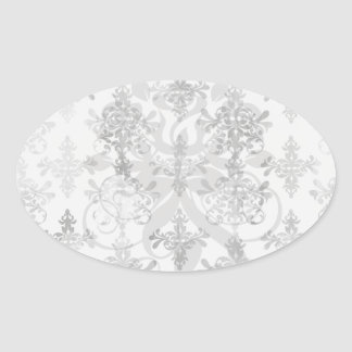 distressed black white intricate damask oval sticker