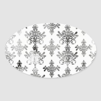 distressed black white intricate damask sticker
