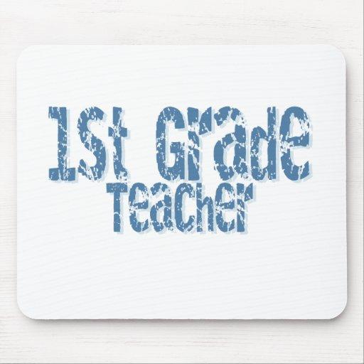 Distressed Blue Text 1st Grade Teacher Mouse Mats