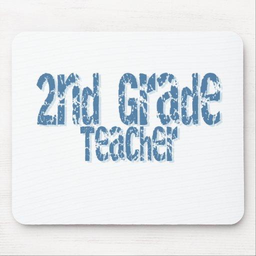 Distressed Blue Text 2nd Grade Teacher Mouse Mats