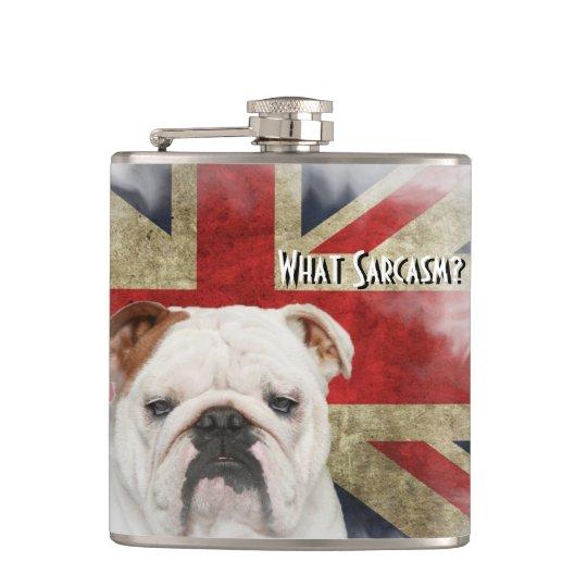Distressed British Flag Union Jack, Bulldog Face. Hip