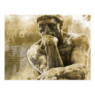Distressed bronze statue Auguste Rodin the thinker Postcard