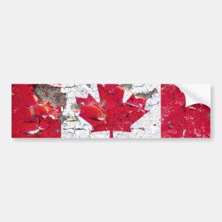 Distressed Canadian flag bumper sticker
