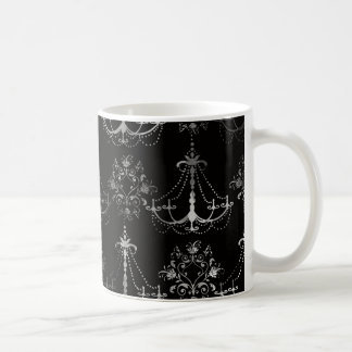 distressed chandelier black white mug