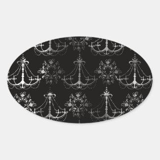 distressed chandelier black white sticker