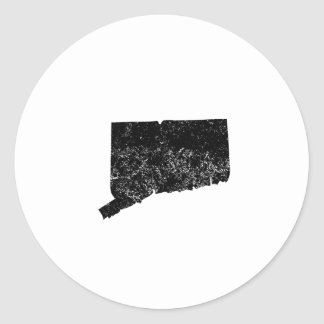 Distressed Connecticut Silhouette Round Stickers