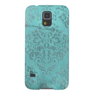 Distressed Damask Aqua Galaxy S5 Cases