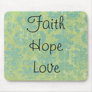 Distressed Damask FaithHopeLove Mouse Pad