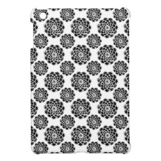 Distressed damask floral mums silhouette pattern iPad mini covers