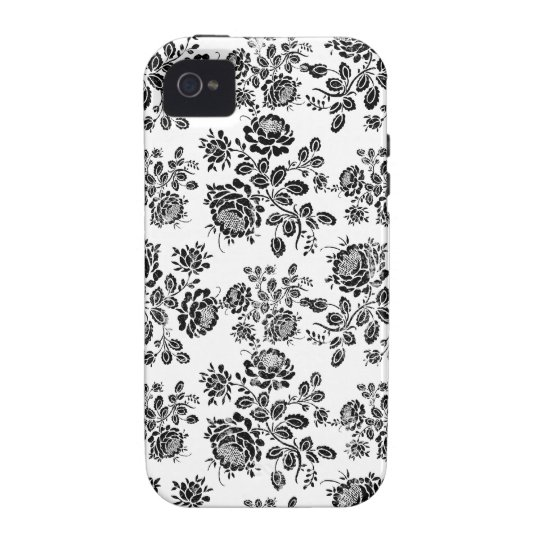 Distressed damask floral rose branch silhouette 4S Vibe iPhone 4 Case