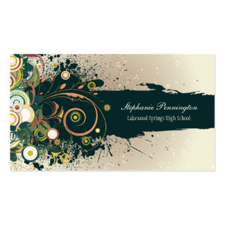 Distressed dark teal swirls graduation name card business card templates
