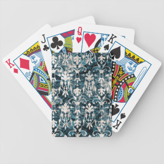 Distressed Denim Damask Bicycle Playing Cards