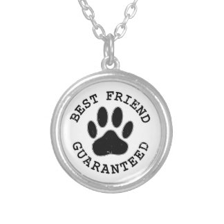 Distressed Dog Paw Best Friend Guaranteed Silver Plated Necklace