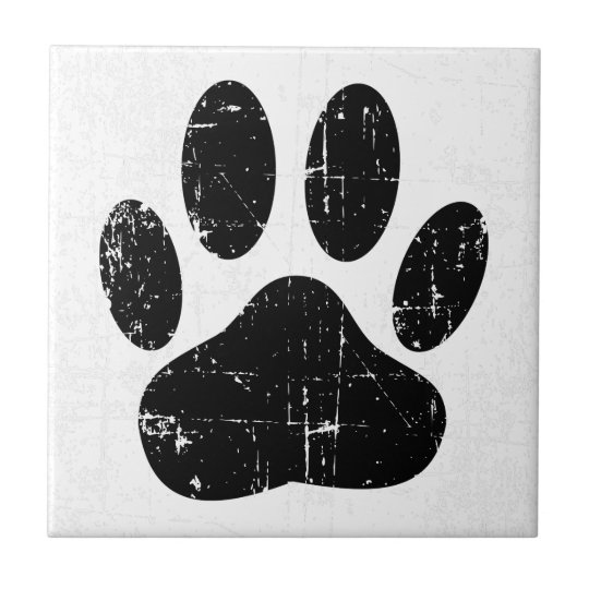 Distressed Dog Pawprint Small Square Tile