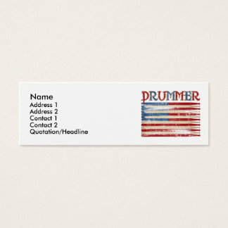 Distressed Drum Stick USA Flag Drummer Tees Gifts Mini Business Card