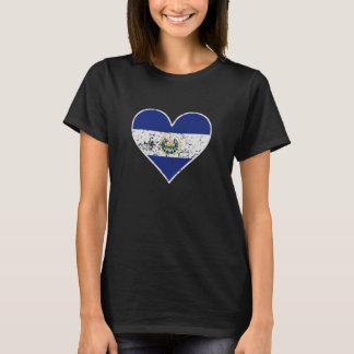 Distressed El Salvadorian Flag Heart T-Shirt