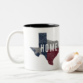 Distressed Faded Texas Flag Home Two-Tone Coffee Mug