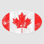 Distressed Flag Of Canada Oval Sticker