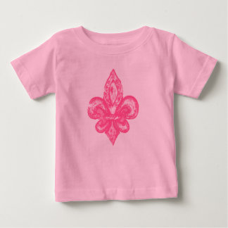 Distressed Fleur De Lis (Pink) Tshirt