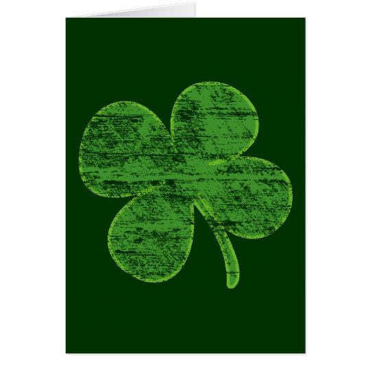 Distressed Four-Leaf Clover Greeting Card