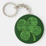Distressed Four-Leaf Clover Keychain Basic Round Button Keychain