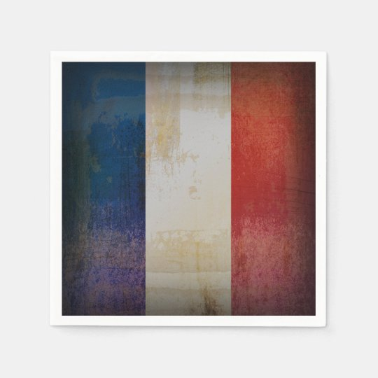 Distressed France Flag Disposable Napkin