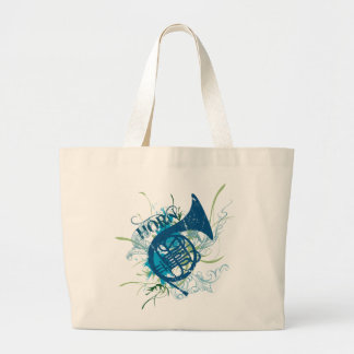 Distressed French Horn Music Tote Bag