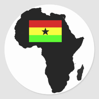 Distressed Ghanian flag and African Silhouette Classic Round Sticker
