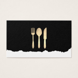 Distressed Gold Food Utensils Business Card
