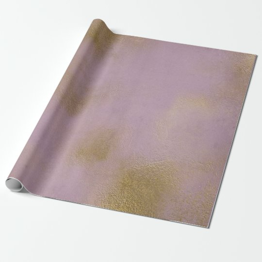 Distressed Gold Glass Lilac Lavender Purple Wrapping Paper