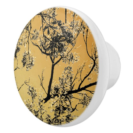 Distressed Gold Oriental Blossoms Ceramic Knob