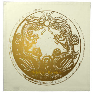 Distressed Golden Chinese Dragon Prosperity Wishes Napkin