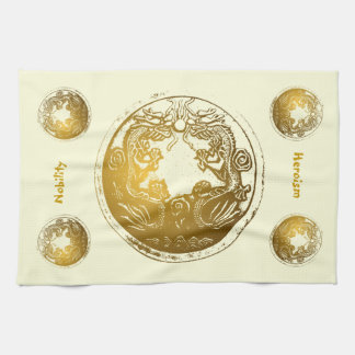Distressed Golden Dragons - Nobility, Heroism Tea Towel
