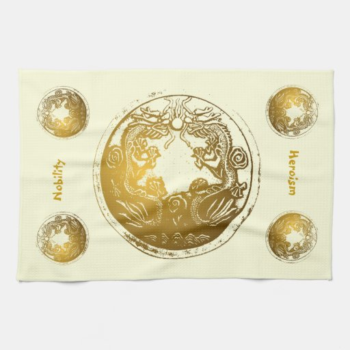 Distressed Golden Dragons - Nobility, Heroism Kitchen Towels