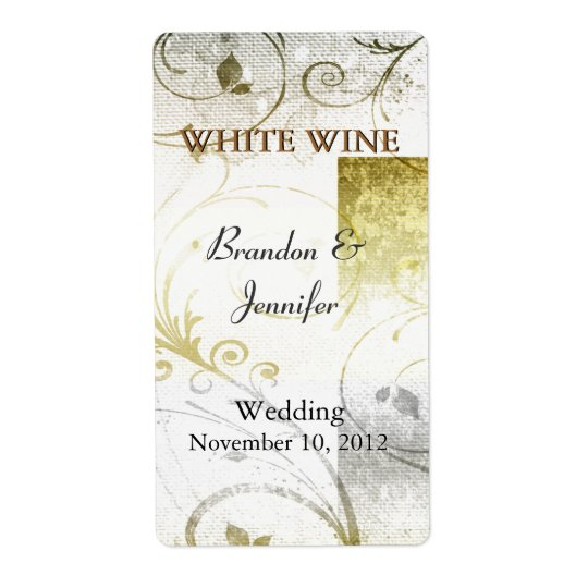 Distressed Golden Flourish Wedding Wine Labels