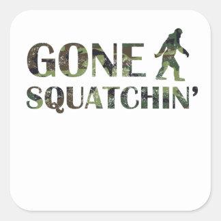 Distressed Gone Squatchin' Camouflage Square Sticker