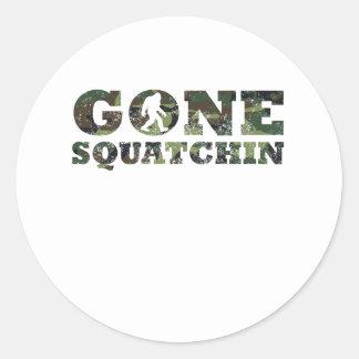 Distressed Gone Squatchin' Camouflage Round Sticker