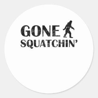 Distressed Gone Squatchin' Round Sticker