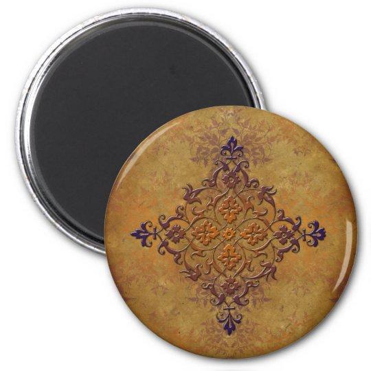 Distressed Gothic Art in Warm Tones 6 Cm Round Magnet