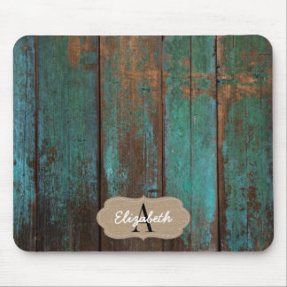 Distressed Green Printed Barn Wood Monogrammed Mouse Mat