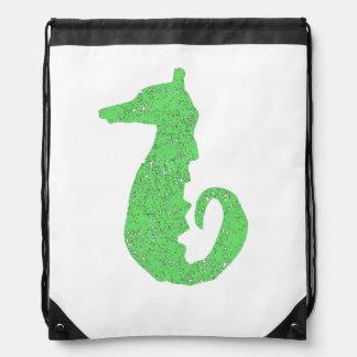 Distressed Green Seahorse Drawstring Backpack