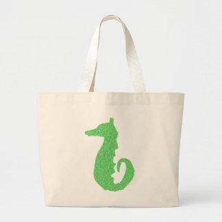Distressed Green Seahorse Jumbo Tote Bag
