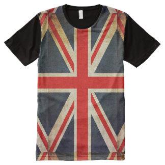 Distressed Grunge UK Flag Print T-Shirt All-Over Print T-Shirt