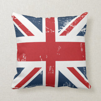 Distressed Grunge UK Flag Union Jack Old Look Cushion