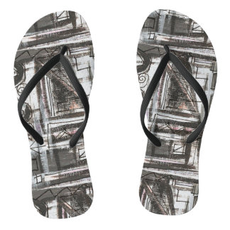 Distressed-Hand Painted Abstract Brushstrokes Flip Flops