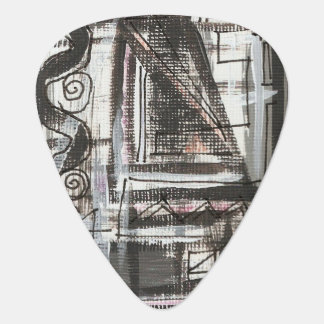 Distressed-Hand Painted Abstract Brushstrokes Guitar Pick