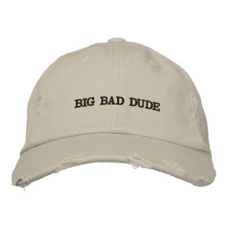 Distressed hat with words on it. baseball cap